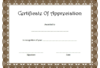 Certificate of Appreciation Template Word FREE 2
