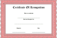 Certificate of Recognition Template Word FREE 1