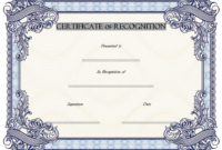 Certificate of Recognition Template Word FREE 2