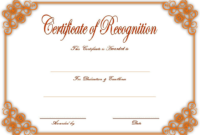 Certificate of Recognition Template Word FREE 4