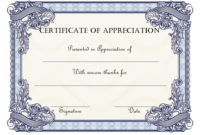 Thank You Certificate of Appreciation Template FREE 1
