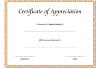 Thank You Certificate of Appreciation Template FREE 2
