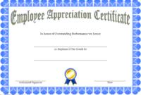 Employee Appreciation Certificate Template Free 2
