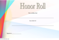 Free Editable Honor Roll Certificate Template 1