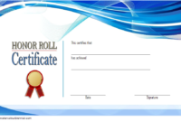 Free Editable Honor Roll Certificate Template 4
