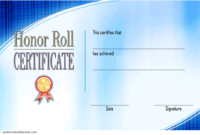 Free Editable Honor Roll Certificate Template 6
