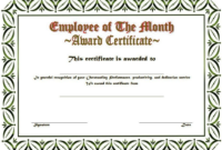 Free Employee of The Month Award Certificate Template 3