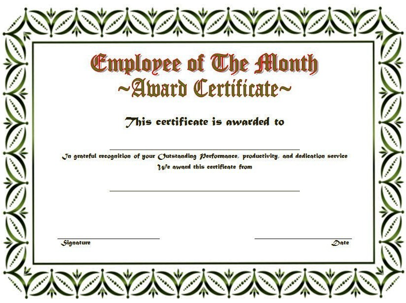 Employee Of The Month Certificate Template Word from twopackage.com