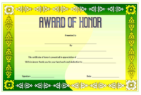 Free Honor Award Certificate Template 2