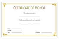 Honor Certificate Template Word FREE 1