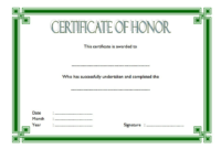 Honor Certificate Template Word FREE 3