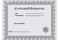 Certificate of Authenticity Printable FREE 1
