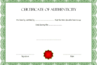 Certificate of Authenticity for Autograph FREE