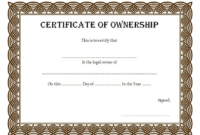 Certificate of Ownership Template FREE 1