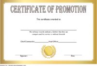 Certificate of Promotion Template Army FREE 1