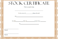 Certificate of Shares of Stock Free Printable 2