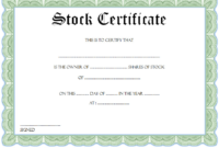 Certificate of Shares of Stock Free Printable 5