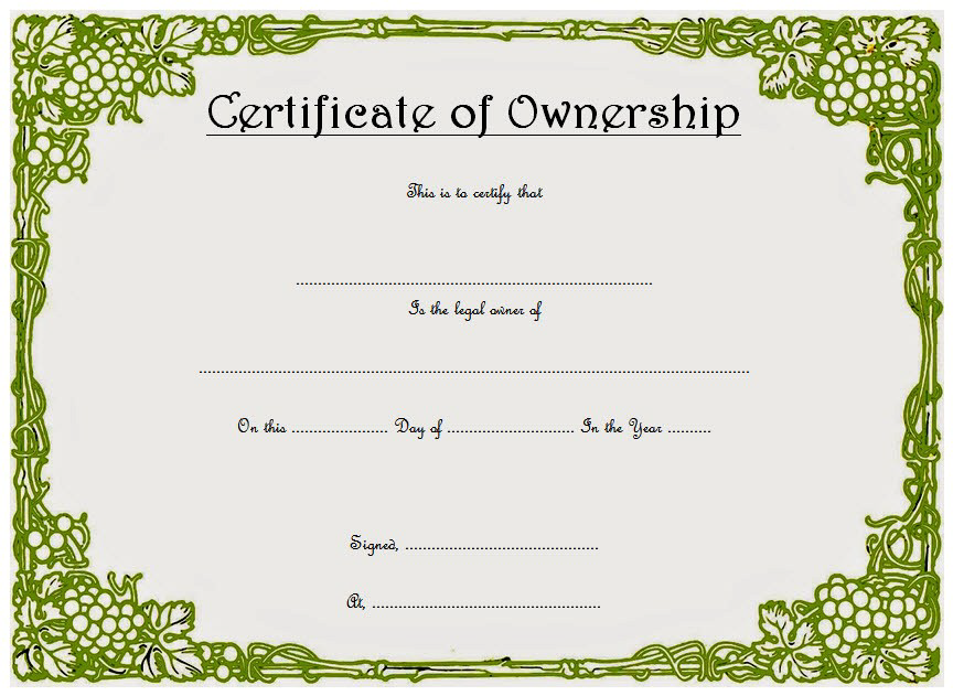 certificate of ownership template, template of share certificate, llc certificate of ownership template, certificate of stock ownership template, certificate of land ownership template