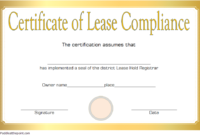 Free Certificate of Compliance Leasehold Template 1