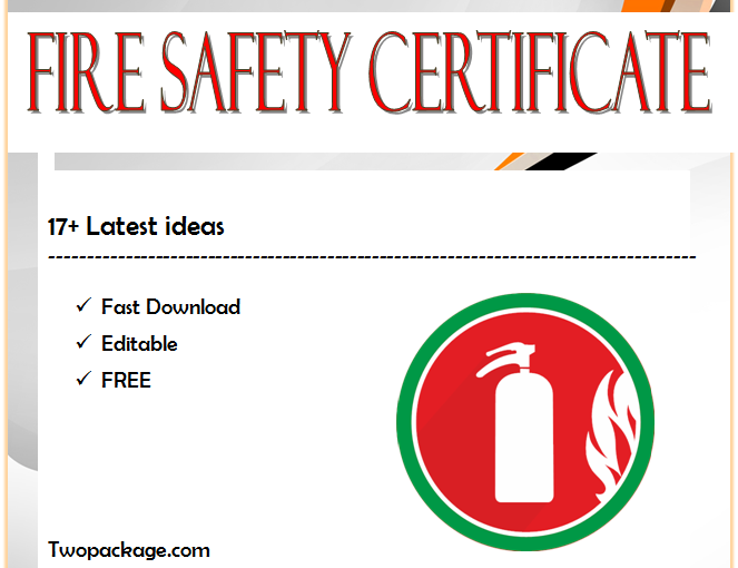 Fire Safety Certificate Template FREE [17+ Fresh Ideas]