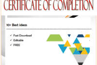Certificate of Completion Template Word FREE in Two Package