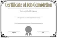 FREE Certificate of Job Completion Template 2