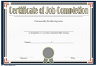 FREE Certificate of Job Completion Template 3