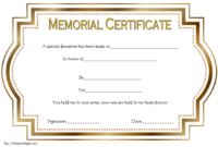 FREE Donation in Memory of Certificate Template 1