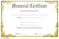 FREE Donation in Memory of Certificate Template 2
