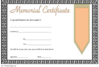 FREE Donation in Memory of Certificate Template 3
