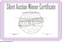 FREE Silent Auction Winner Certificate Template 1