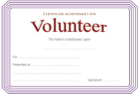 Volunteer Work Certificate Template FREE Achievement Award 2