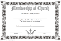 Editable Certificate of Church Membership Template 2