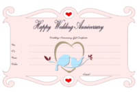 Editable Happy Anniversary Gift Certificate Template 1