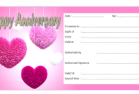 Editable Happy Anniversary Gift Certificate Template 3