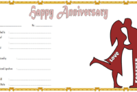Editable Happy Anniversary Gift Certificate Template 4
