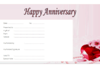 Editable Happy Anniversary Gift Certificate Template 5
