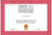 Editable LLC Membership Interest Certificate Template 1