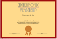 Editable LLC Membership Interest Certificate Template 2