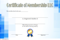 LLC Membership Certificate Template Word FREE 2