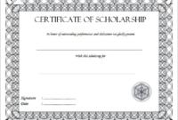 Scholarship Certificate Template Printable 2