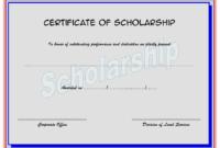 Scholarship Certificate Template Printable 3