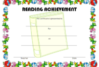 An Adorable Reading Achievement Certificate Template FREE
