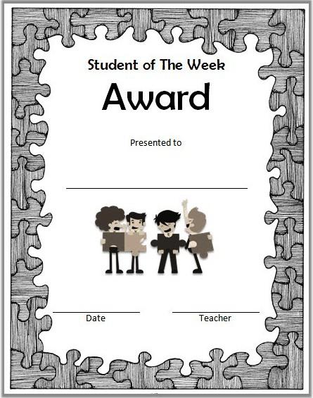 student of the week certificate printable, student of the week certificate editable, student of the week certificate template, certificate for student of the week