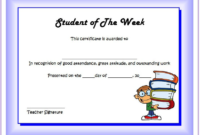 An Outstanding Student of The Week Certificate Printable FREE