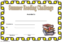Beautiful Summer Reading Challenge Certificate FREE Printable