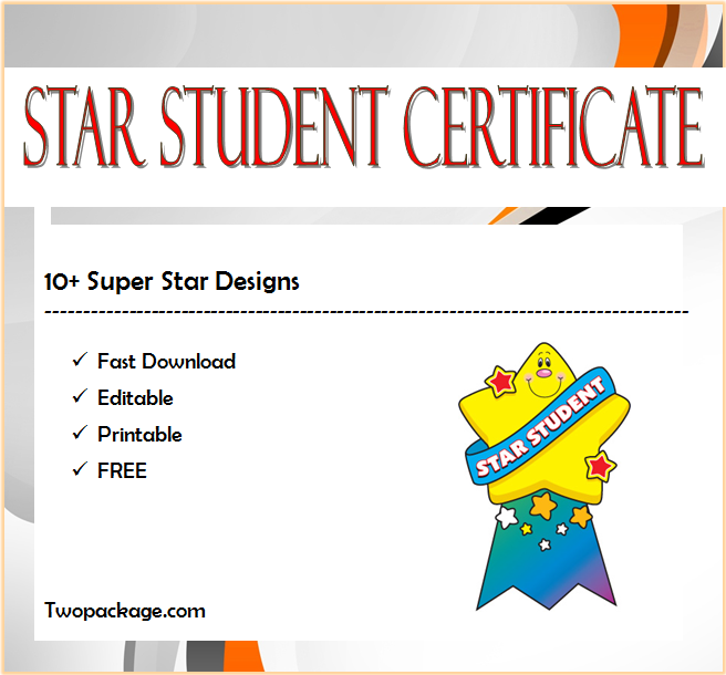 star student certificate template, star student of the month certificate, super star student certificate, editable star student certificate, first certificate star student's book