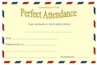 FREE Extraordinary Perfect Attendance Certificate Template Microsoft Word