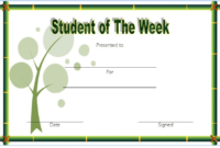 FREE Student of The Week Certificate Template (Simple Green)