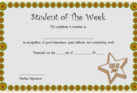 FREE Student of The Week Certificate Template (Student Appreciation)